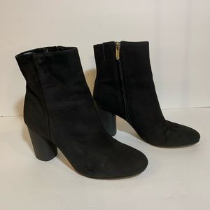 Sam Edelman Carr's black suede heel ankle boot.
